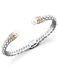Macy's 14K Gold And Sterling Silver Cultured Freshwater Pearl Diamond Accent Braid Bangle Bracelet Black