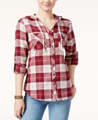 Polly And Esther Juniors' Hooded Plaid Shirt Burgundy Tan
