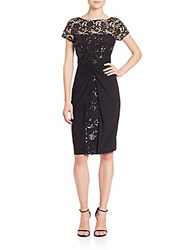 David Meister Sequined Lace And Jersey Dress Black