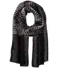 M Missoni Spacedye Scarf With Solid Border Black