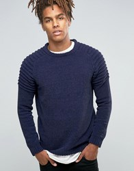 Asos Crew Jumper With Ribbed Shoulders In Chenille Navy