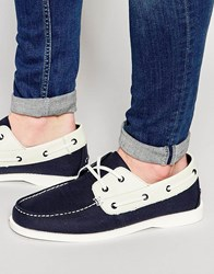 Bellfield Boat Shoes In Navy Suede Blue