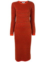 Carven Striped Knitted Dress Red
