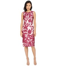 Prabal Gurung Floral Shadow Print Sleeveless Dress Berry Floral Shadow