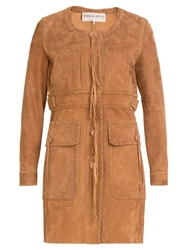 Emilio Pucci Single Breasted Braided Detail Coat Brown