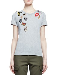 Alexander Mcqueen Obsession Short Sleeve Embroidered Tee Gray
