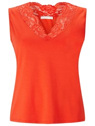 Jacques Vert Lace Insert Top Mid Red