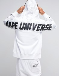 Aape By A Bathing Ape Zip Through Hoodie With Back Print White