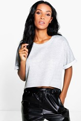 Boohoo Curved Hem Sweat Grey