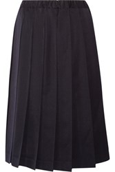 Comme Des Garcons Girl Pleated Wool Gabardine Skirt Navy