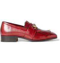 Gucci Gran Duca Horsebit Fringed Grained Leather Loafers Claret