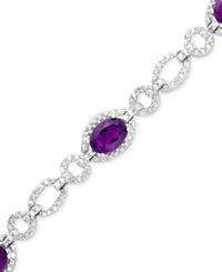 Macy's Sterling Silver Bracelet Amethyst 4 Ct. T.W. And Diamond Accent