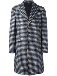 Tagliatore Houndstooth Patterned Coat Black