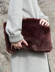 Pixie Market Burgundy Faux Fur Clutch