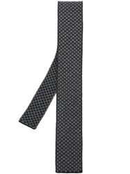 Eleventy Square Pattern Knitted Tie Black
