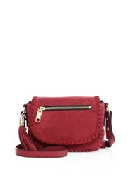 Milly Astor Suede Crossbody Bag Burgundy Stone