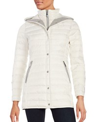 Vince Camuto Mid Length Hooded Puffer Coat White