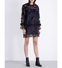 Sacai Embroidered Patches Organza Dress Black Navy