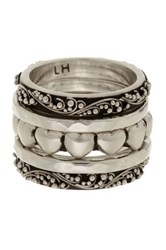 Lois Hill Sterling Silver Heart Stackable Ring Set Size 6 Metallic