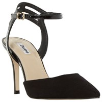 Dune Chelsee Pointed Toe Two Part Court Shoes Black Suede