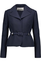 Valentino Belted Wool And Silk Blend Crepe Jacket Midnight Blue