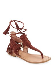 Sigerson Morrison Alysa Suede Fringe Accented Thong Sandals Brown