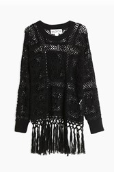 Wildfox Couture Fringed Crochet Top Black