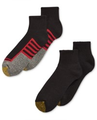 Gold Toe Men's Socks Athletic Cushion Quarter 4 Pack Black