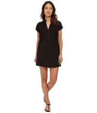Lauren Ralph Lauren Crushed Cotton Darcy Tunic Cover Up Black Women's Swimwear