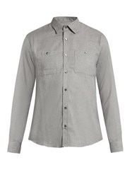 Gieves And Hawkes Button Cuff Cotton Wool Blend Shirt Light Grey