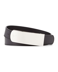 Giuseppe Zanotti Logo Buckle Leather Belt Black