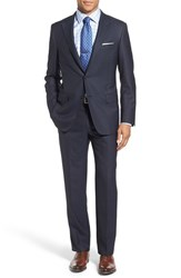 Hickey Freeman Men's 'Beacon' Classic Fit Stripe Wool Suit Navy