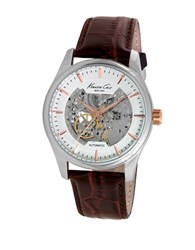 Kenneth Cole Automatic Skeleton Brown Leather Strap Watch 10027198