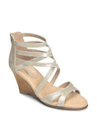 Aerosoles Glossary Leather Wedge Sandals Pearl