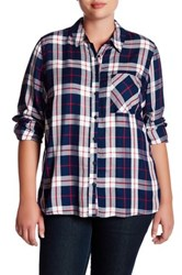 Como Vintage Plaid Woven Shirt Plus Size Blue