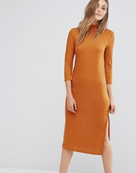 Vila High Neck Long Sleeve Midi Dress Brown