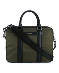 Dolce And Gabbana Leather Trimmed Laptop Bag Khaki Black Silver