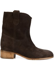 Chuckies New York Stacked Heel Ankle Boots Brown
