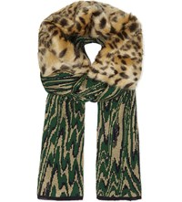 Dries Van Noten Mianca Faux Fur Knitted Scarf Green Moire