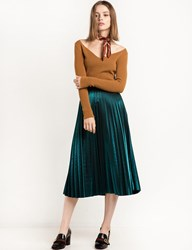 Pixie Market Metallic Green Pleated Midi Skirt