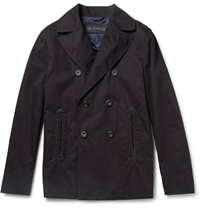 Etro Suede Panelled Cotton Twill Peacoat Blue