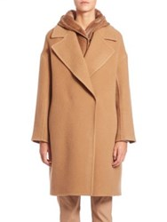 Max Mara Manilla Oversized Double Breasted Wool And Mohair Coat Camel