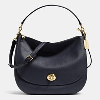 Coach Turnlock Hobo In Polished Pebble Leather Light Gold Navy
