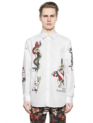 Love Moschino Tattoo And Devil Print Cotton Poplin Shirt