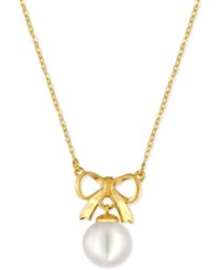 Majorica Gold Tone Imitation Pearl Bow Pendant Necklace White