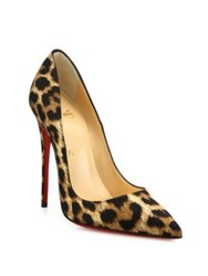 Christian Louboutin Leopard Print Satin Pumps Brown