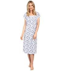 Eileen West Waltz Nightgown Cream Garden Floral Women's Pajama Blue