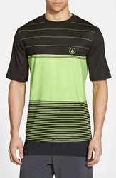 Volcom 'Sub Stripe' Short Sleeve Rashguard Electric Green
