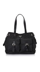 Wgaca Prada Nylon Pocket Tote Previously Owned Black