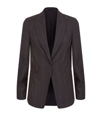 Brunello Cucinelli Chain Pinstripe Blazer Female Dark Grey